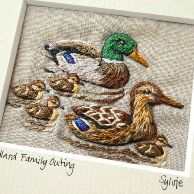 Mallard Family Outing - textile picture