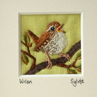 Singing Wren - embroidered picture