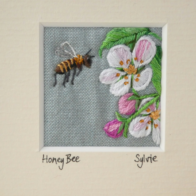 Honey Bee -hand stitched textile picture