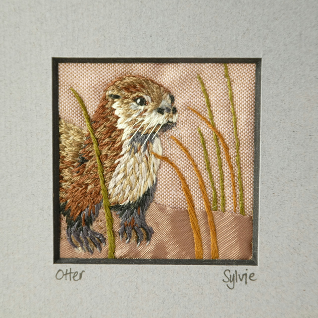 Otter - hand stitched picture