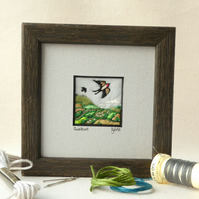 Swooping swallow, hand stitched picture