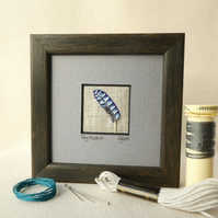 Jay Feather, hand stitched picture