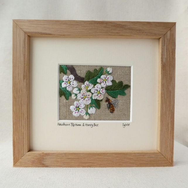 Hawthorn Blossom and Honey Bee - handstitched picture