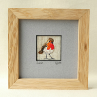 Robin - hand stitched textile picture