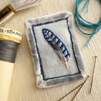 Jay feather - hand sewn brooch