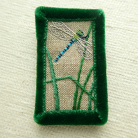 Dragonfly - hand stitched brooch