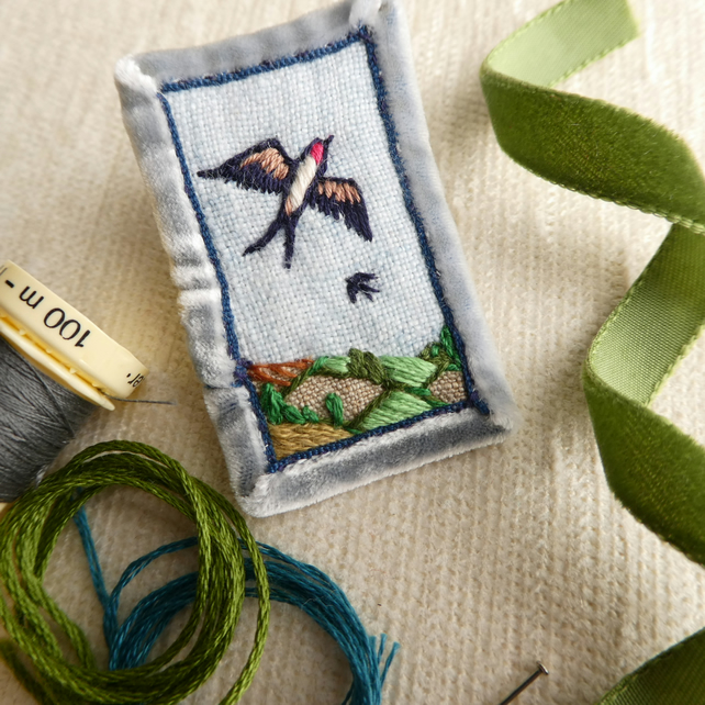 Swallows - hand stitched brooch