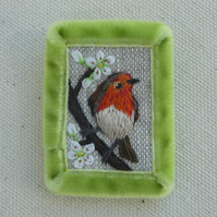 Robin and Blossom - textile brooch