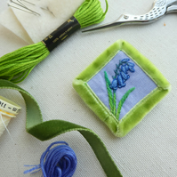 Bluebell - hand stitched brooch