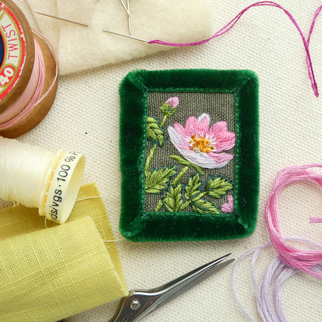Wild Rose Brooch - hand stitched