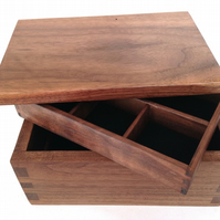 Handmade fine jewellery walnut box, customisable in wood, interior and function