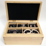 Handmade fine large jewellery maple box, customisable in wood and interior