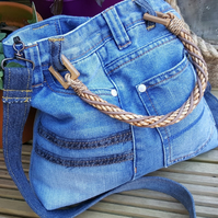 Handmade, blue boho bag made from upcycled Next jeans. Recycled denim.