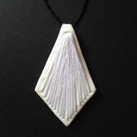 Embroidered White Polymer Clay Diamond Shape Necklace
