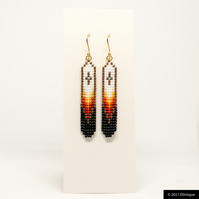 Long Native American Earrings in Black, White & Gold - Handmade Ethnic Jewellery