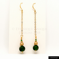 Green & Gold Art Deco Style Beaded Earrings - Ethical & Unique Vegan Jewellery