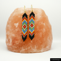Native American Inspired Beaded Diamond Earrings, Vegan Contemporary Jewellery