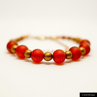 Art Deco Bracelet in Red and Gold - Handmade Beaded Vintage Jewellery