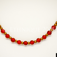 Art Deco Red and Gold Necklace - Handmade Beaded Vintage Jewellery