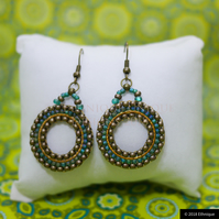Nepal Inspired Teal Beaded Earrings, Ethical Contemporary Vegan Jewellery