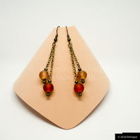 Art Nouveau Earrings in Orange and Peach  - Handmade Beaded Vintage Jewellery