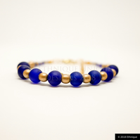 Blue and Gold Art Deco Bracelet - Handmade Beaded Vintage Jewellery