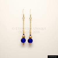Blue & Gold Art Deco Inspired Beaded Earrings, Ethical Contemporary Jewellery