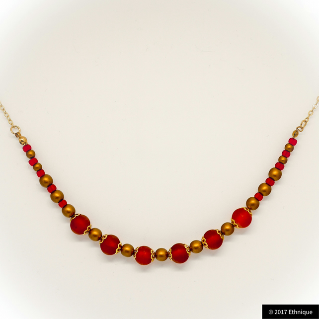 Red and Gold Art Nouveau Necklace - Handmade Beaded Vintage Jewellery