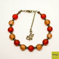 Beaded Art Nouveau Bracelet in Peach and Orange - Handmade Vintage Jewellery