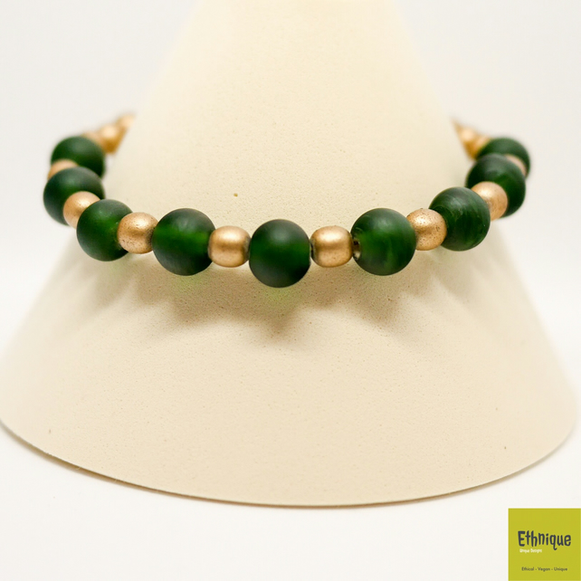 Art Deco Bracelet in Green and Gold - Handmade Beaded Vintage Jewellery