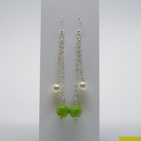 Long Green and Swarovski Glass Pearl Earrings - Ethical Vintage Style Jewellery