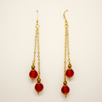 Long Art Nouveau Earrings in Red and Gold - Handmade Beaded Vintage Jewellery