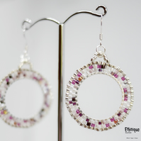 Mosaic Style Earrings in Shades of Purple, with Sterling Silver Ear Wires