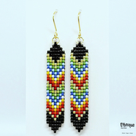 Native American Inspired Chevron Beaded Earrings. Vegan, Gold Plated