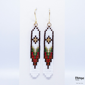 Native American Style Long Beaded Earrings. Original Design, Vegan