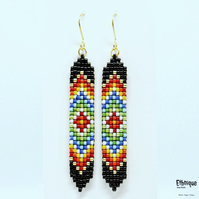 Native American Inspired Long Beaded Earrings in Black and Rainbow Colours
