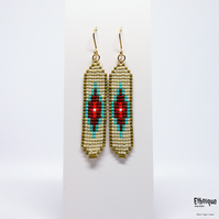 Native American Inspired Beaded Earrings, Vegan Contemporary Jewellery