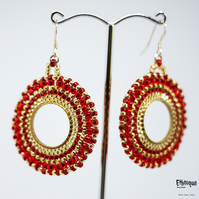 South American Inspired Beaded Hoop Earrings in Red and Gold. Vegan, Handmade.
