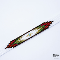 Native American Style Loom Beaded Bracelet with Gold Plated Clasp & Chain