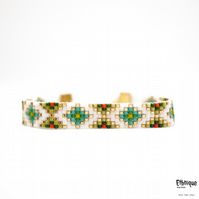 Unisex Vegan Loom Beaded Bracelet. White, Green and Earth Tones. Gold Plated