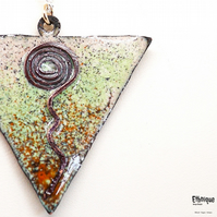 Copper, Brass and Enamel Artisan Necklace in Ivory, Pale Green & Burnt Orange