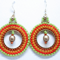 South American Style Hooped Earrings with Gold Filled Ear Wires