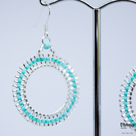 Turquoise and Silver Mosaic Style Earrings with Sterling Silver Ear Wires
