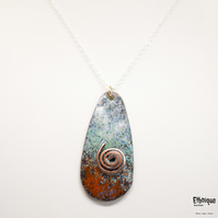 Copper Artisan Enamel Necklace with Sterling Silver Chain