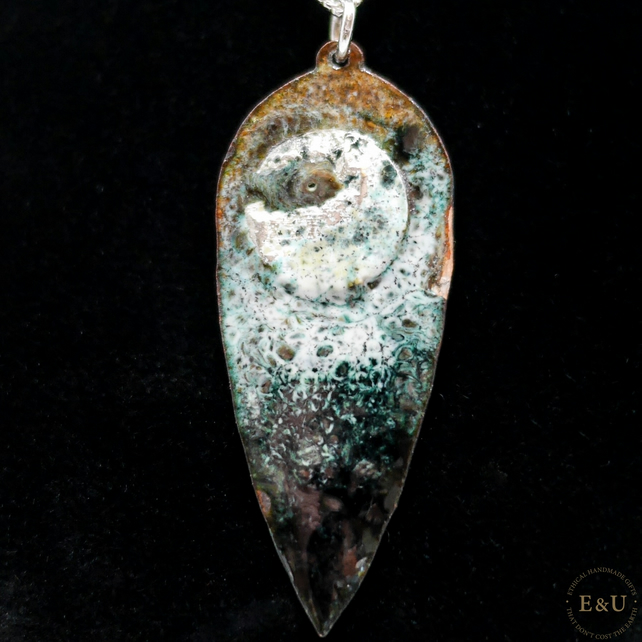 'Pagan Moon' Necklace in Fine and Sterling Silver, Copper and Lead-Free Enamel