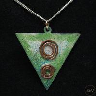 Enamel, Copper and Silver Pagan Celtic Necklace. 'Celestial Sisters'