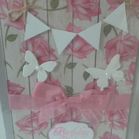 Bunting Birthday Wishes Card with Butterfly's pink Roses Background
