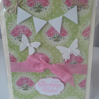 Bunting Birthday Wishes Card   Butterfly's Roses  and  Lime Coloured background