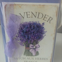French Lavender  Blank Card With Organza Ribbon Savon Aux Herbes France