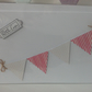 Bunting Card  With Love Red Stripe and Spot Paper Pennants